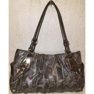 Extra large gray and black python leather handbag